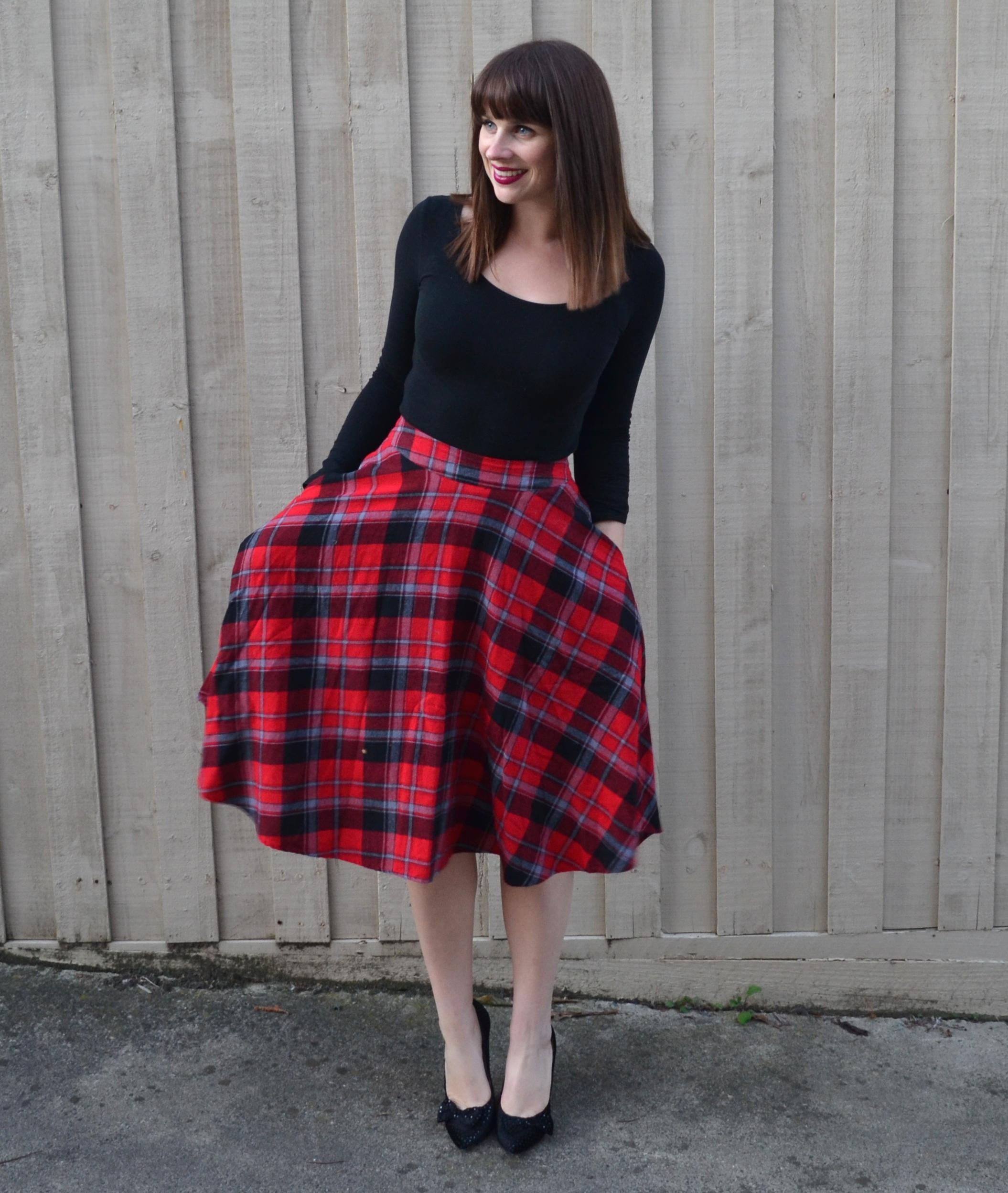 red-tartan-midi-skirt