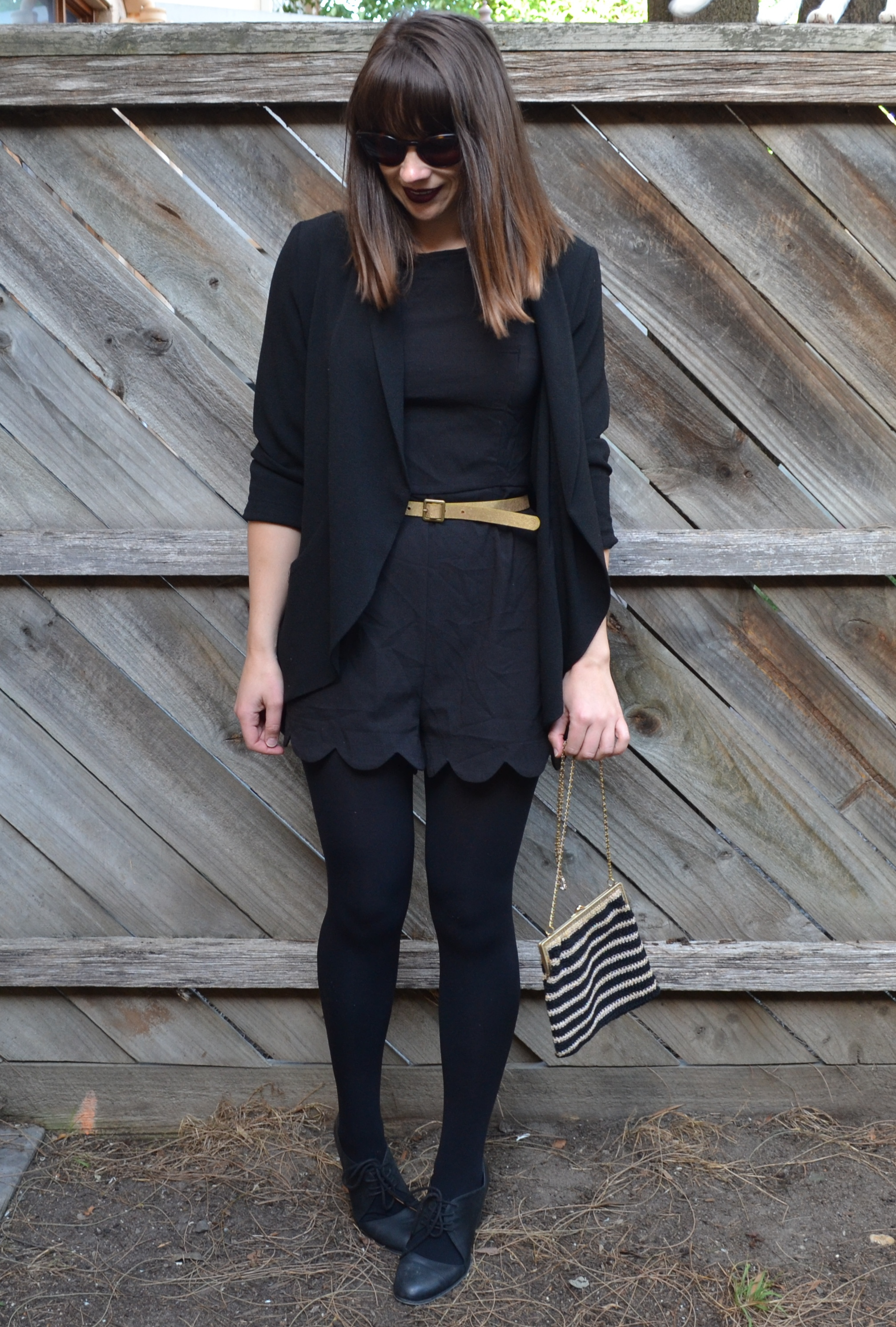 black-romper-gold-black-bag