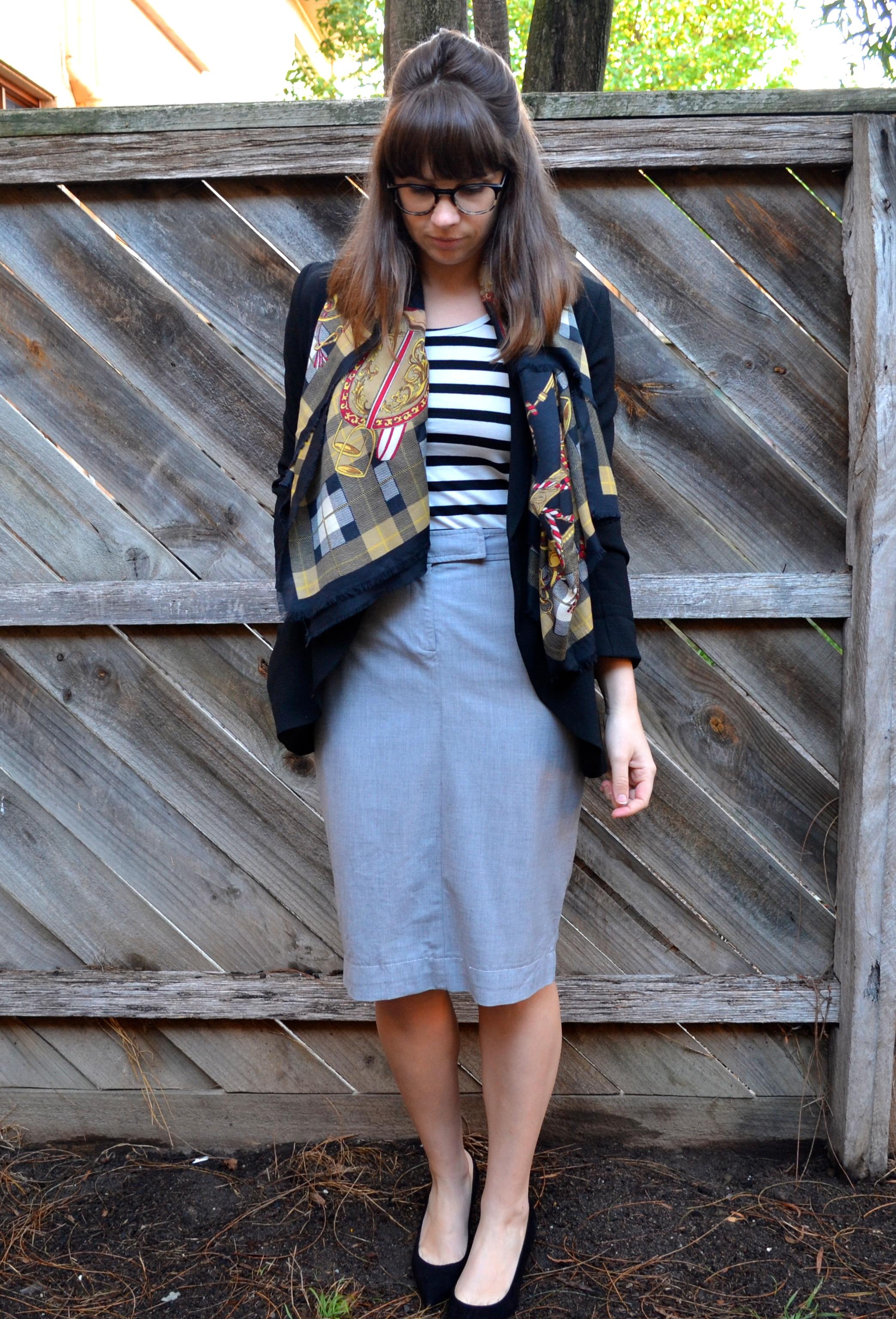 grey-pencil-skirt-striped-top-black-blazer