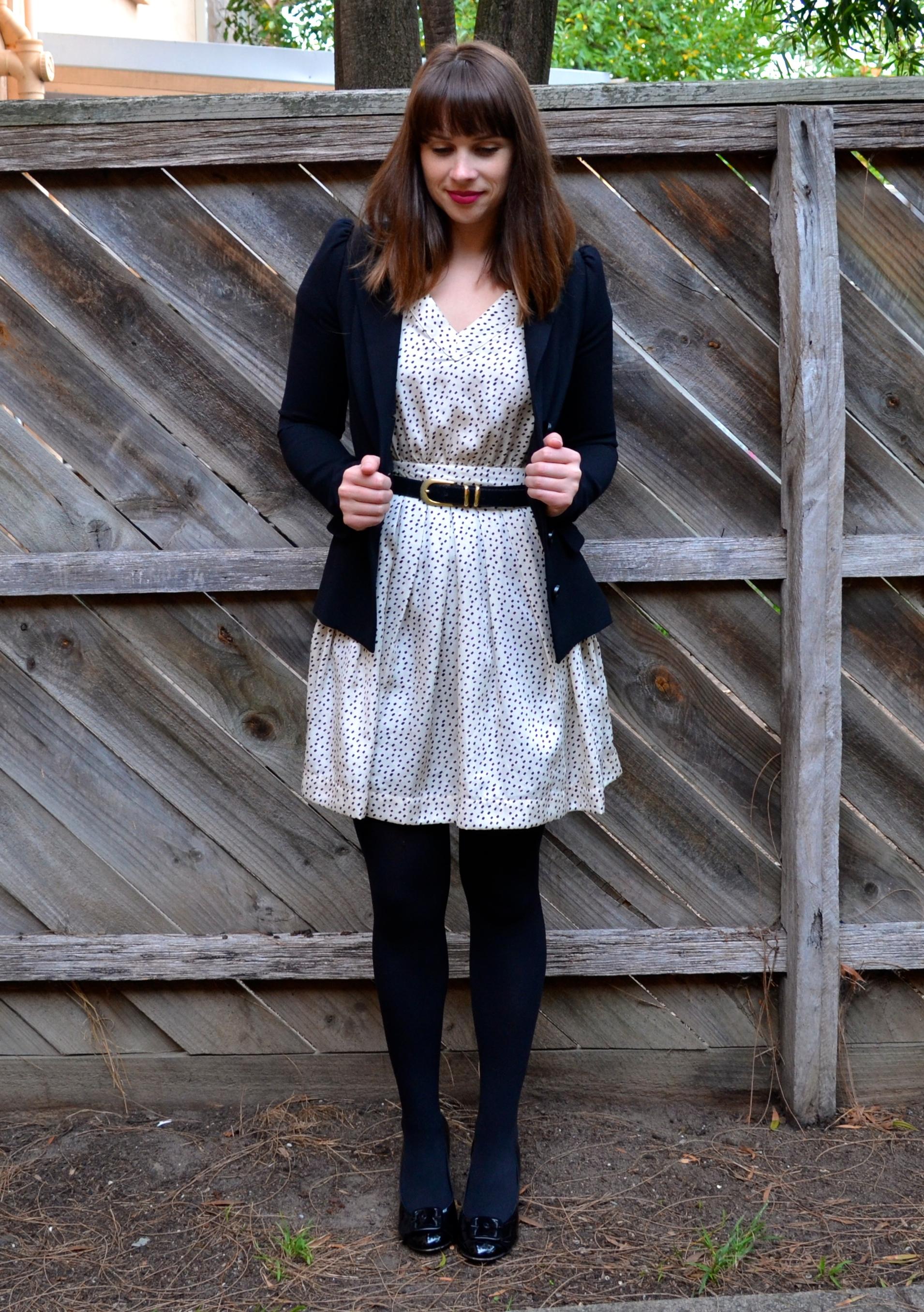 sportsgirl-polka-dot-dress-black-betsy-johnson-blazer