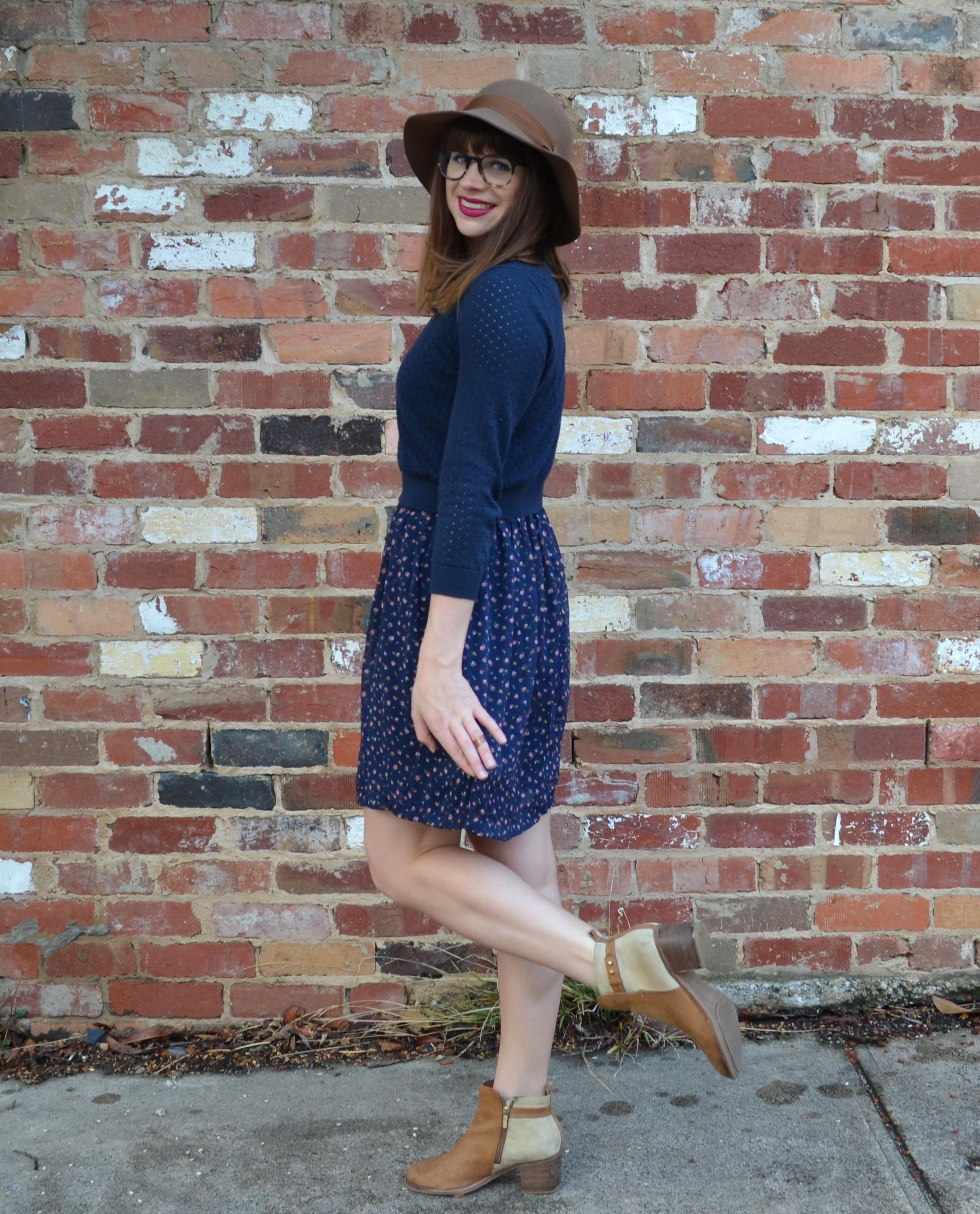 tan-ankle-boots-nordstrom-blue-floral-dress