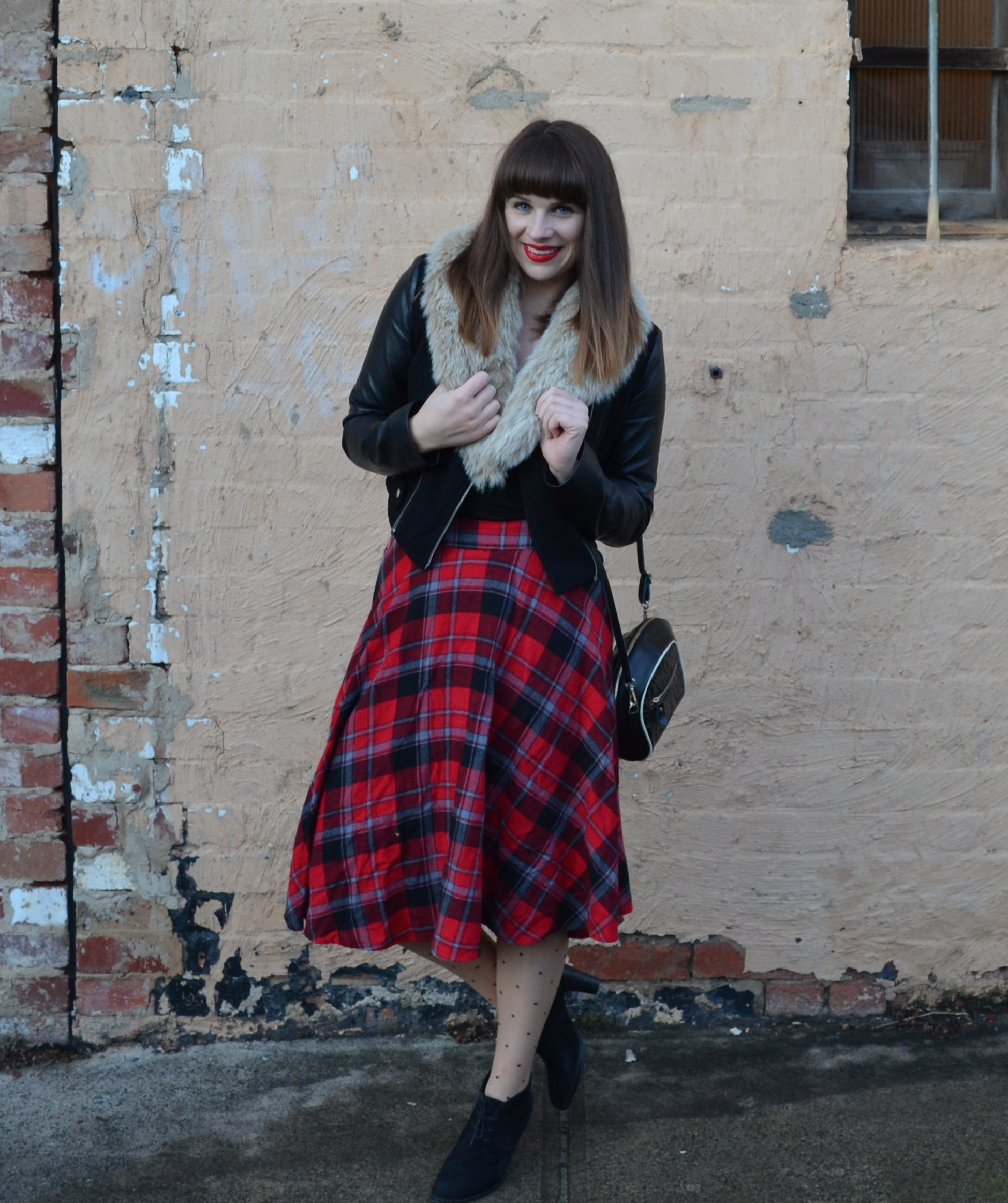 tartan-skirt-black-leather-jacket