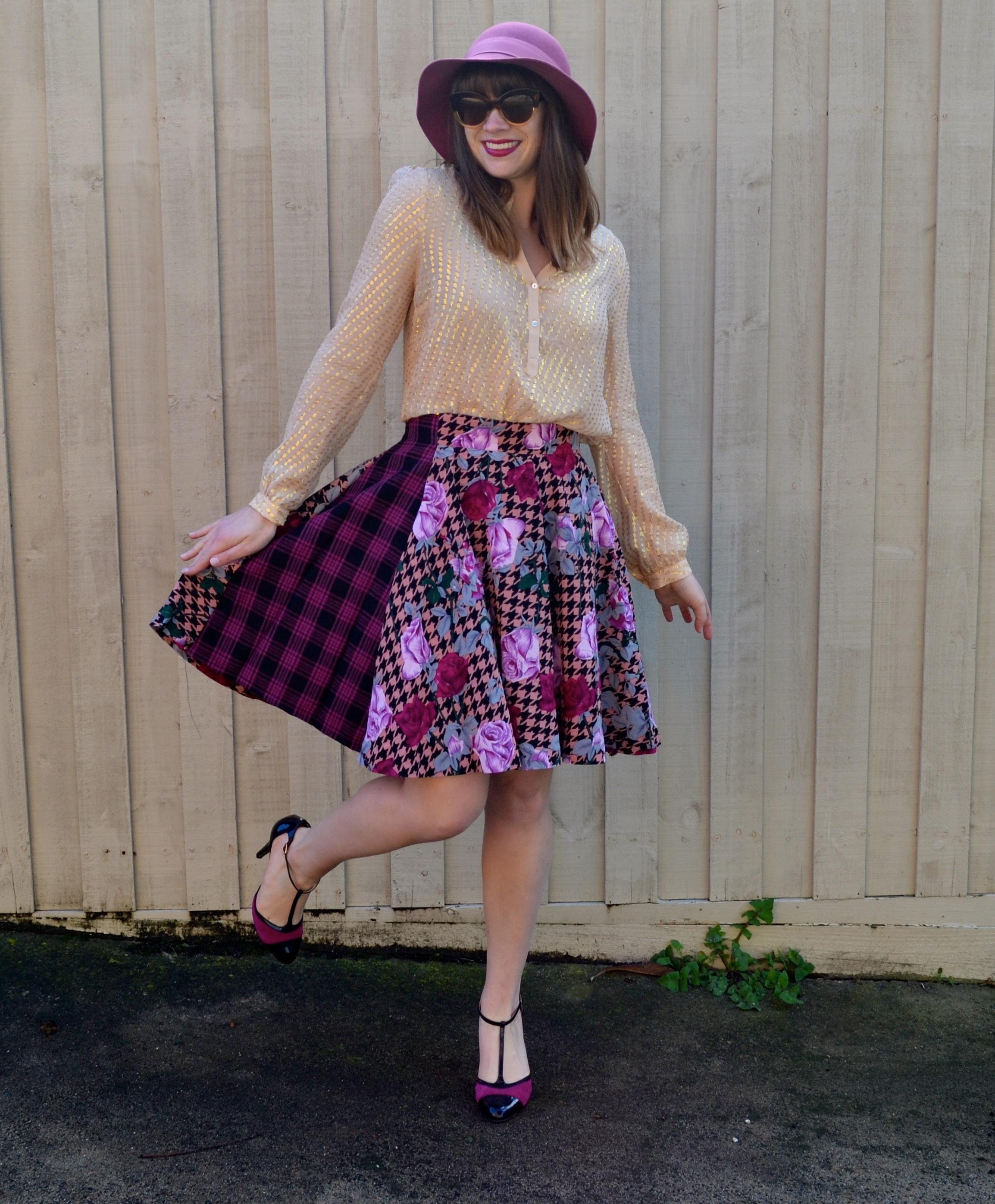 pink-patterned-skirt-heels