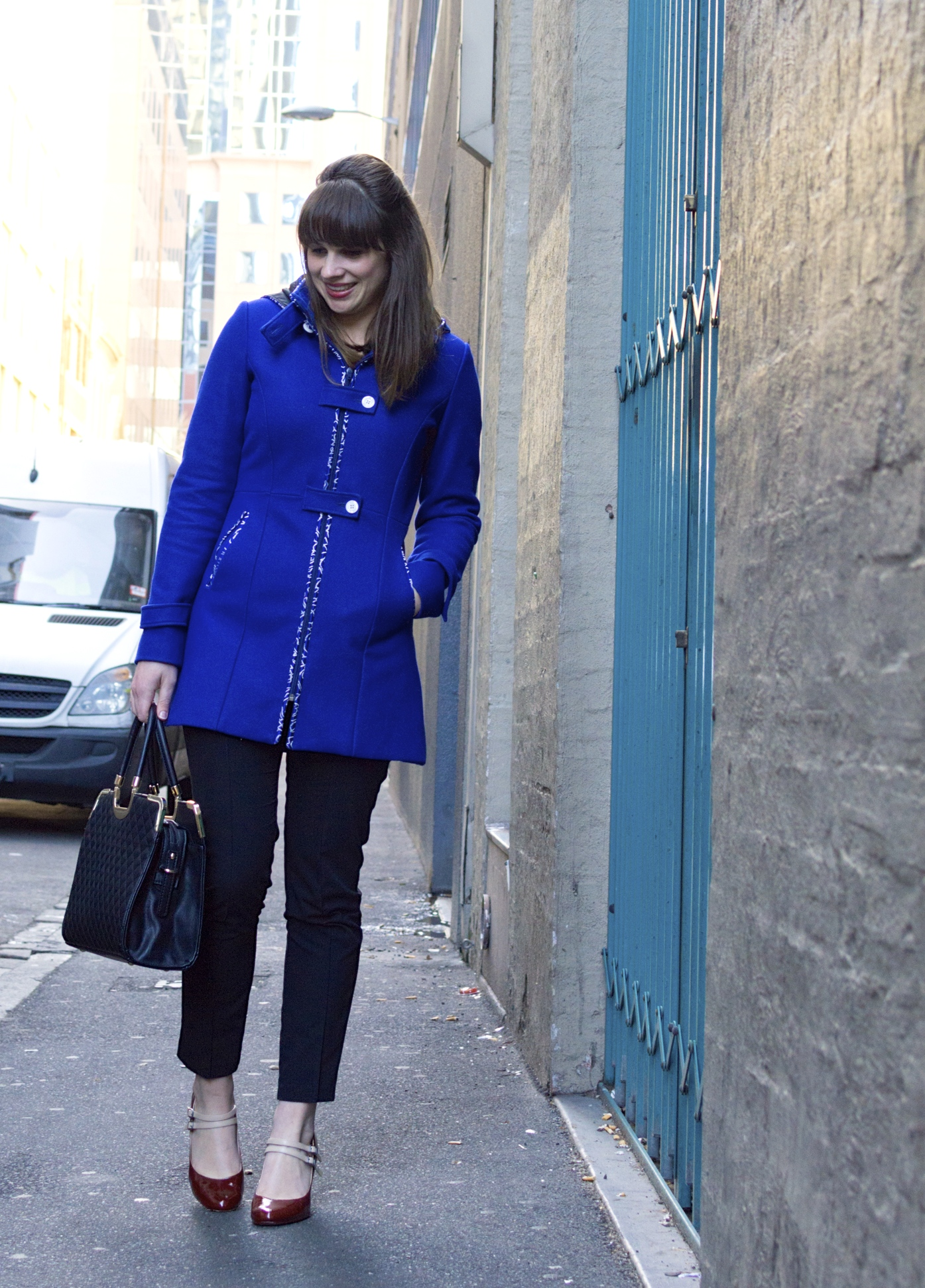 blue-winter-coat-black-pants