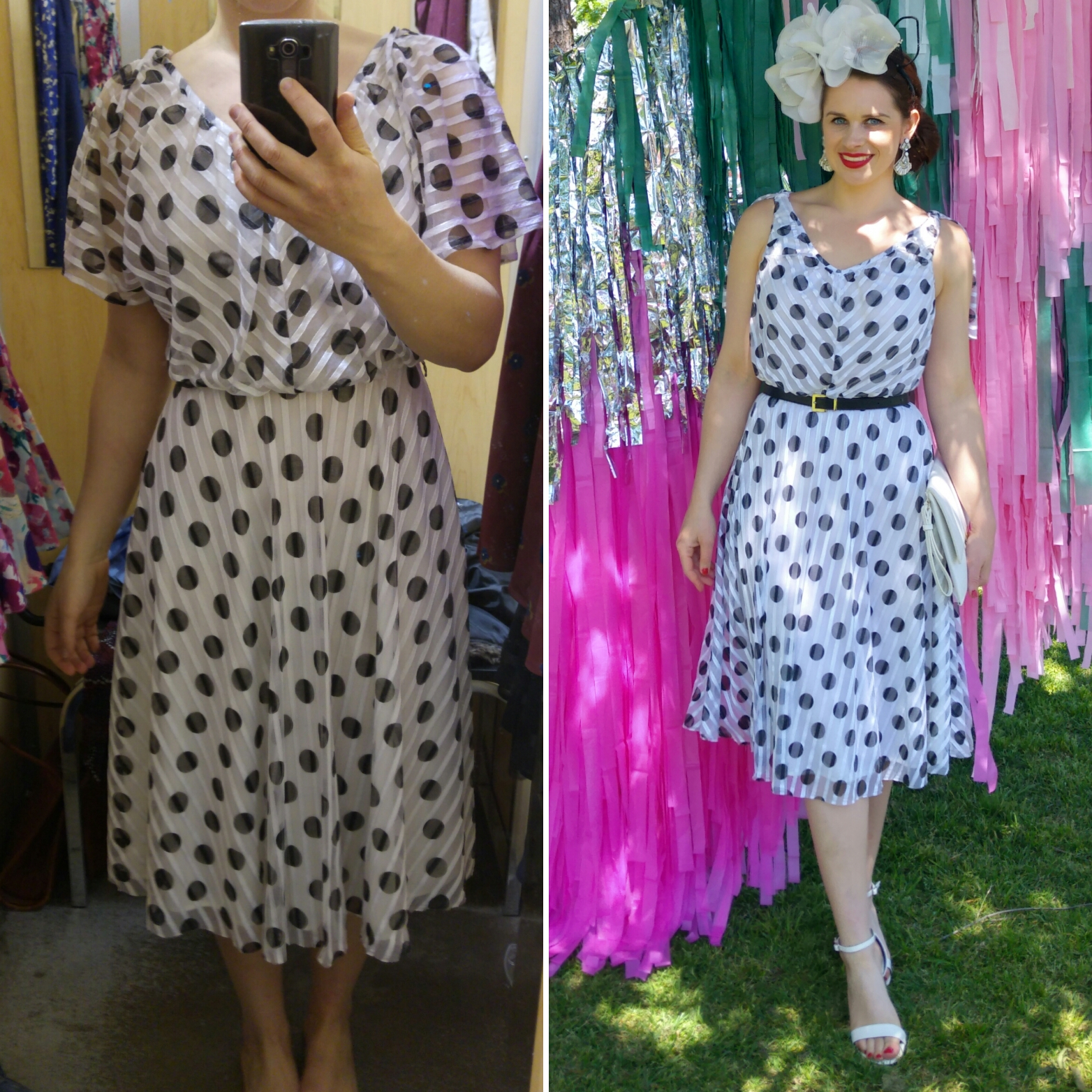 Before and after - a simple upcycle of an 80s dress