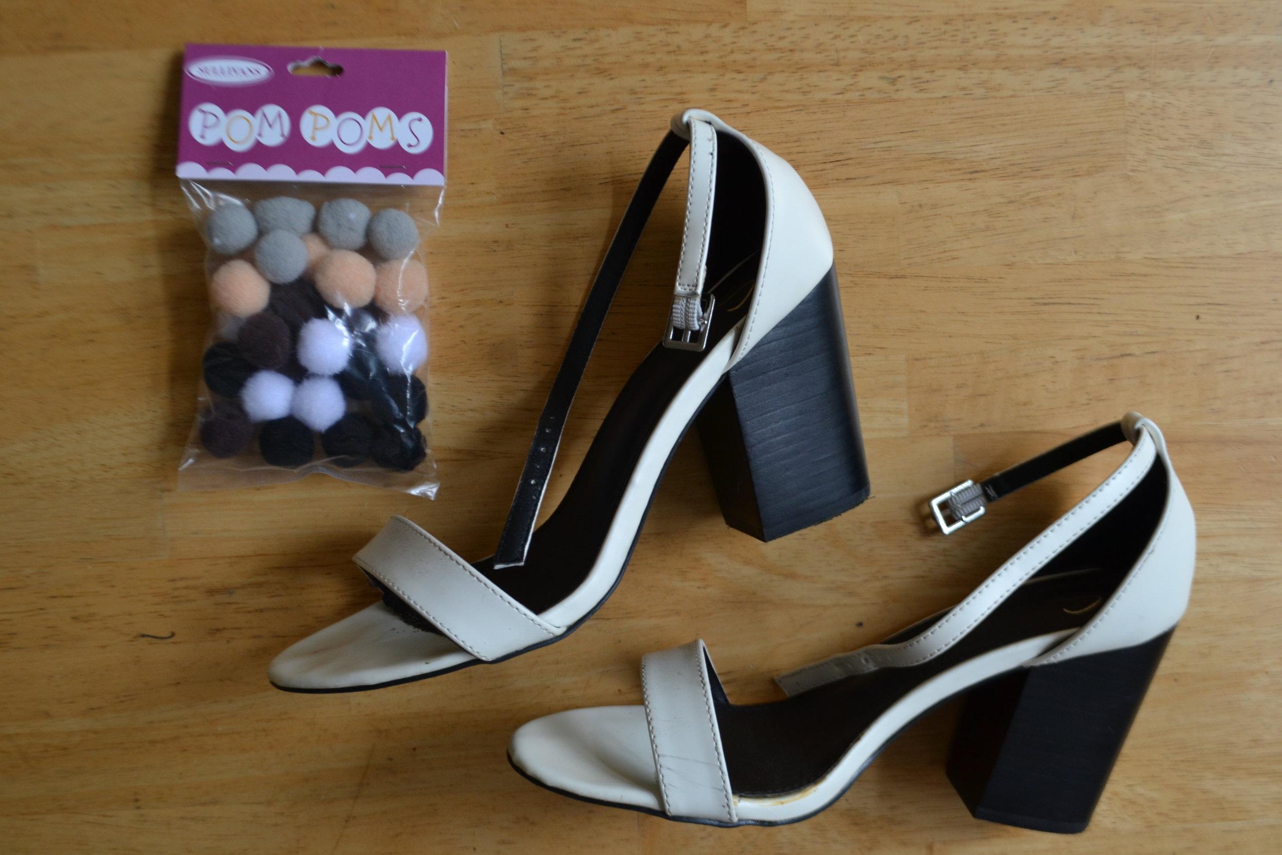 Materials: Shoes of choice, pom poms, hot glue gun
