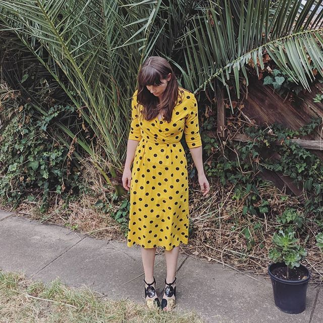Can you take a photo of my outfit? Takes one photo and I'm not even ready...#instahusbandfail Anyway here's my Easter outfit - $9 homemade dress from @sacredheartopshops Yellow is not a color I typically wear but Easter calls for these colors and it's polka dots so why not! . . #sacredheartopshops #secondhand #secondhandblogger #secondhandstyle #handmade #opshopfinds #opshopping #opshops #thriftstorefinds #thrifted #thriftyfinds #thriftedthreads #instastyle #fashinable #fashionista #yellowpolkadots #styleicon #styleblogger #stylediaries #reusestyleicon #styleoftheday #ootd #outfitpost