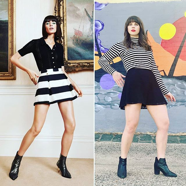 Who posed for this look better?😂 Look number 5 for Fashion Revolution week is this Sass & Bide number from their 2019 collection. We did a variation with a reversal of the skirt and top and look I think I killed it with the pose! Outfit details Black skirt $5 from @vinniesvictoria @vinniesshops  Striped top $5 from @sacredheartopshops  Boots - my closet . . #opshopfinds #opshopping #opshops #opshopstyle #styleicon #stylediaries #styleoftheday #ootd #outfitpost #outfitblogger #thriftstorefinds #thrifted #thriftedthreads #hautealternatives #hautealternative #secondhand #secondhandstyle #sassandbide #fashionista #whoworeitbetter #fashiongram #upcycledclothing #highendfashion #highfashion @fash_rev_ausnz @fash_rev #fashionfun