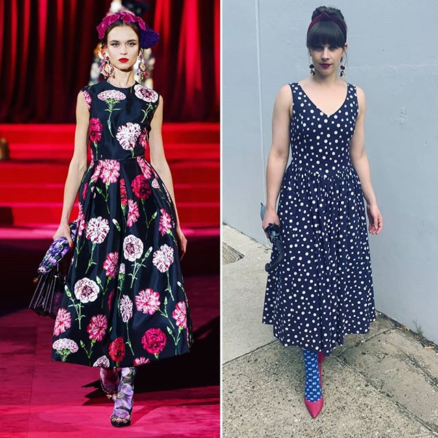 And we've made it to the last #hautealternative for Fashion Revolution Week 2019. To finish us off we have a Dolce and Gabbana recreation which cost a grand total of ZERO dollars! It may not be the same print but the silhouette is 👌 Outfit Details:  Dress - vintage 90s dress from my mom (her favourite dress that she kept for many years before gifting to me) Shoes, socks, umbrella, headband and earrings are all from my closet.  I hope you've enjoyed this series from myself and @thesouthsidehunter - we had a ball showing how you can recreate trends with what you've already got in your wardrobe or by adding in a few secondhand and opshopped pieces. You don't have to always buy new, trends come and go and with a little bit of time and effort you can often find what you're looking for secondhand. Try opshops, Facebook Marketplace, markets, Gumtree, clothes swaps with your friends. Lots of options out there! @fash_rev_ausnz @fash_rev . . #secondhandnotsecondbest #secondhand #secondhandstyle #styleoftheweek #styleoftheday #stylist #fashinable #fashiontrends #dolcegabbana #fashionista #fashrev #thriftstorefinds #opshopfinds #opshopping #vintagestyle #vintageclothing #vintagewear #weekendwear #weekendstyle #outfitpost #outfitblogger #outfitinspo