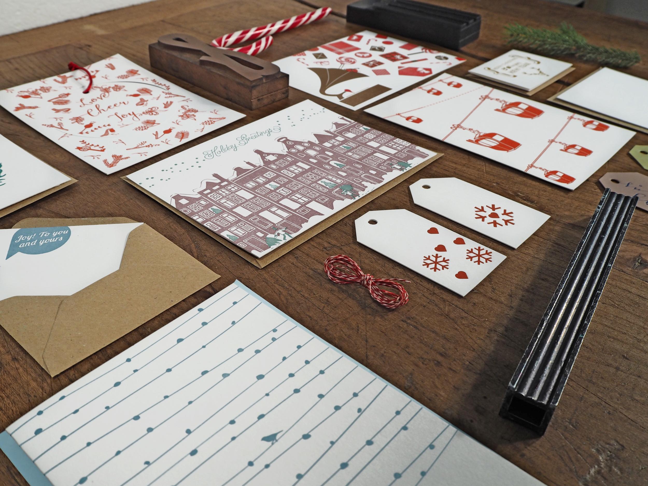 Letterpress Weihnachtspapeterie, Mini Billets, Geschenksanhänger