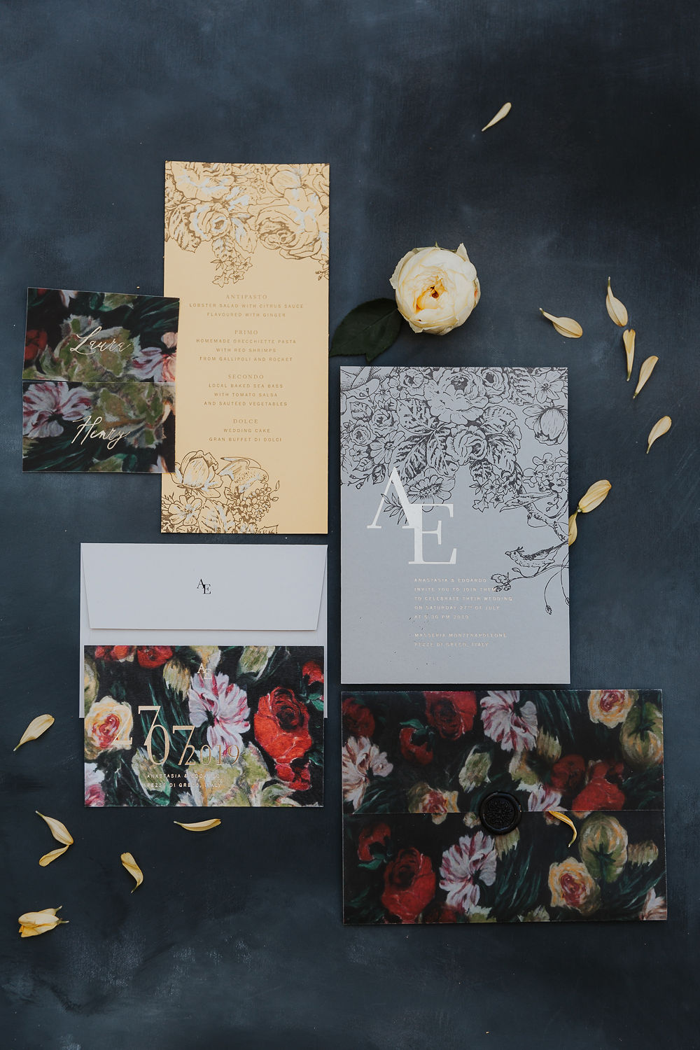 Letterpress stationery on colourful papers with gold foil & baroque florals