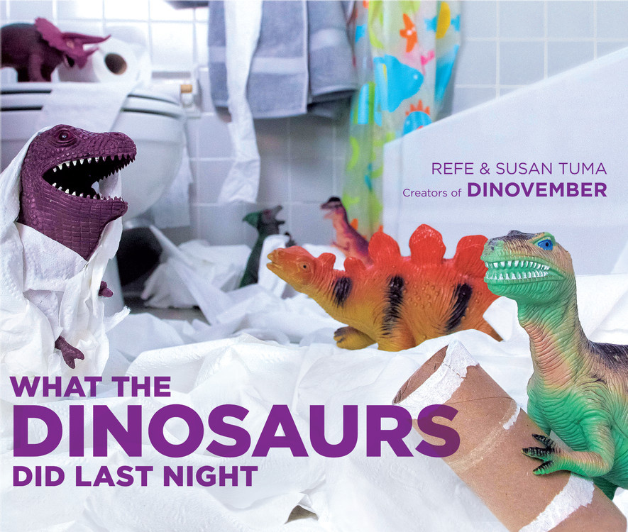 What the Dinosaurs Did Last Night - Every November, Refe and Susan Tuma work long into the night to bring their four children scenes from the secret lives of their toys -- specifically the nighttime antics of their plastic dinosaurs. Throughout more than 80 photos, the dinosaurs wreck bathrooms, destroy vases, rock out, encounter terrifying hot irons, even do the dishes with hilarious, magical results. Each scene is photographed in meticulous detail, letting viewers joyfully suspend disbelief and think to themselves -- just LOOK what the dinosaurs did last night!
