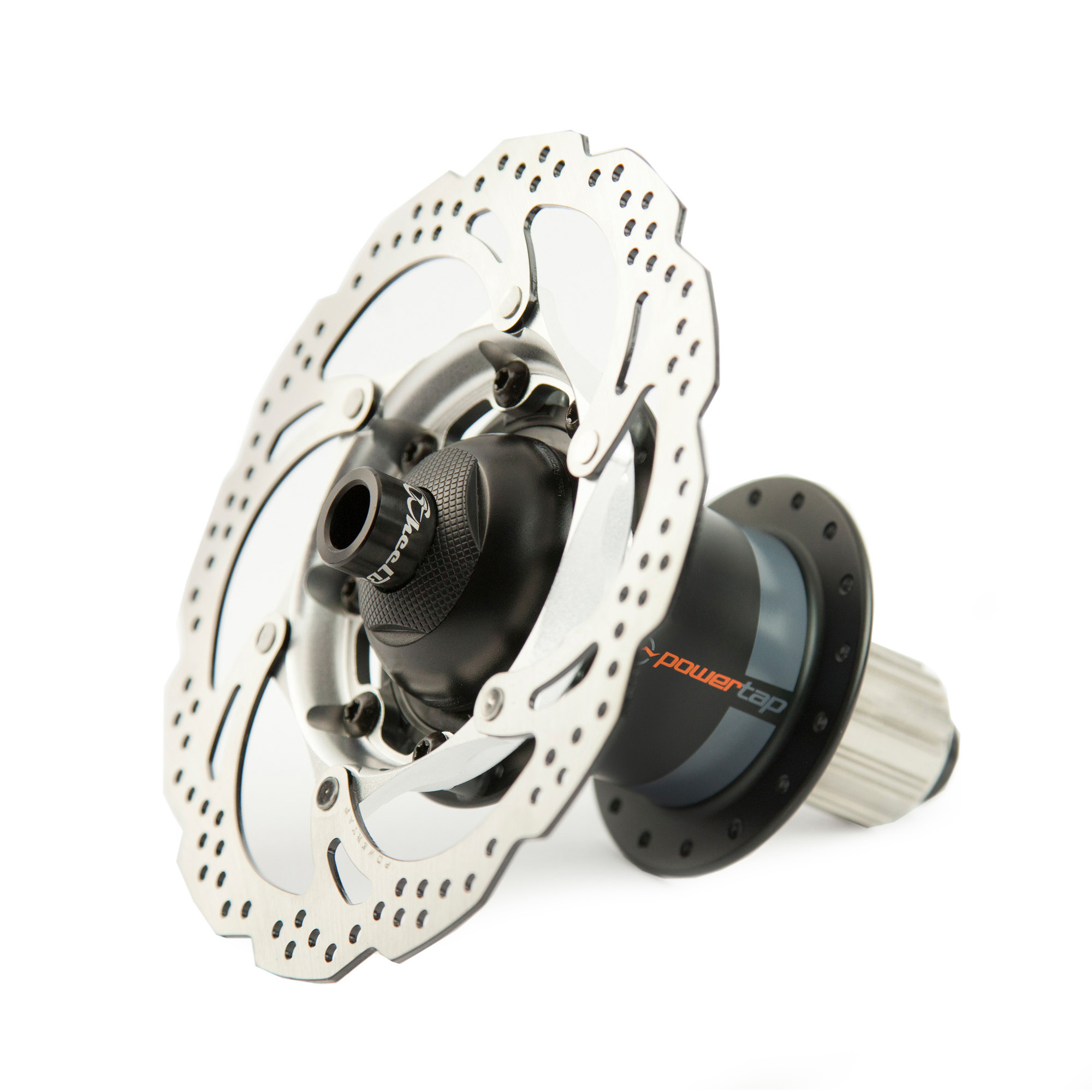 The Powertap disc friendly rear hub with a 160mm rotor included. The above model is a 142 X 12 thru axle.