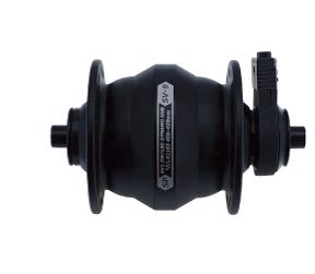 Shutter Precision's 9 Series Dynamo hub in black. Available in V brake and centre lock.