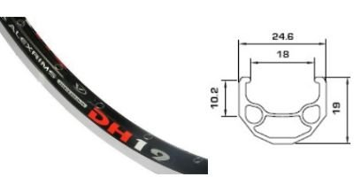 The Alex DH19. A triple box section 48 hole alloy rim that should inspire confidence!