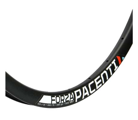 The all black disc version of the Pacenti Forza makes for a fine alloy rim. It has an asymmetrical spoke bed on the rear rim to help equalise tension between the drive side and non drive side spokes, further strengthening your wheel.