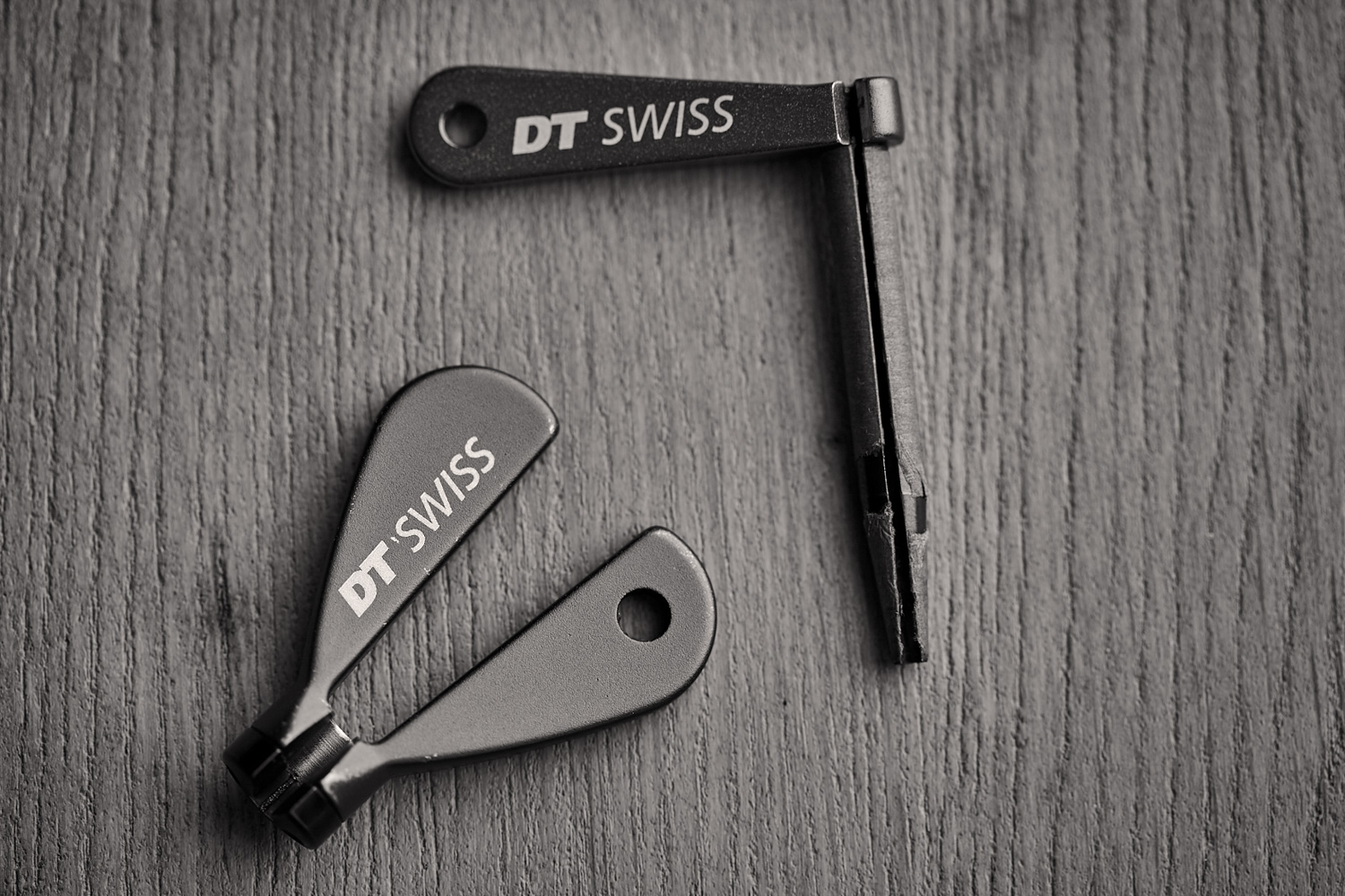 A DT Swiss spoke key and their bladed spoke holder. Designed to work perfectly together, these are my fave tools for building with bladed spokes.