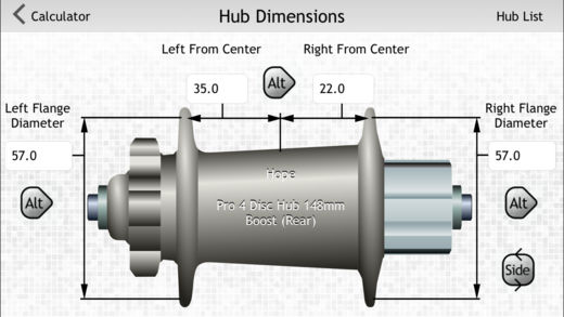 Quick Spoke already supplies you with all your hub measurements. Handy!