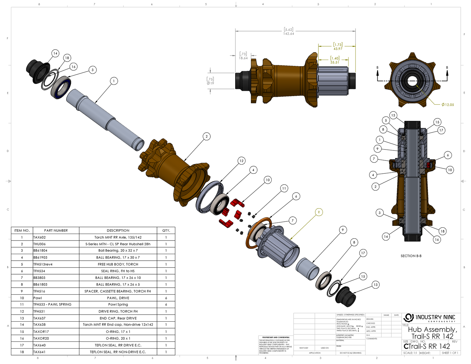 A detailed exploded view of the internals of a an Industry Nine rear hub.