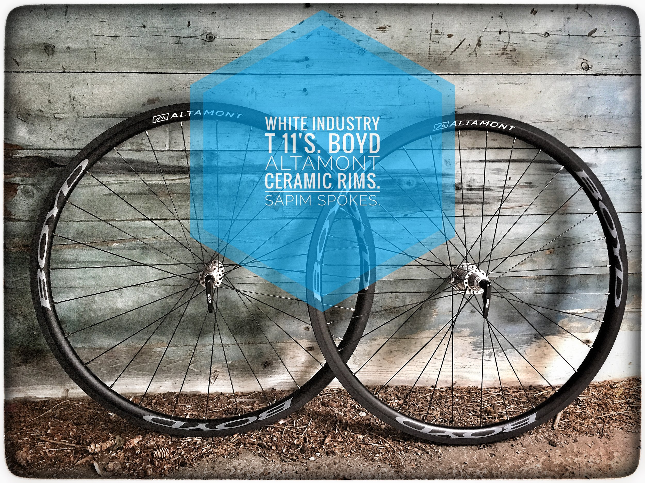A custom set of gravel and cyclocross wheels that I built for a client. White Industry T11 road hubs with the Boyd Altamont ceramic rim.