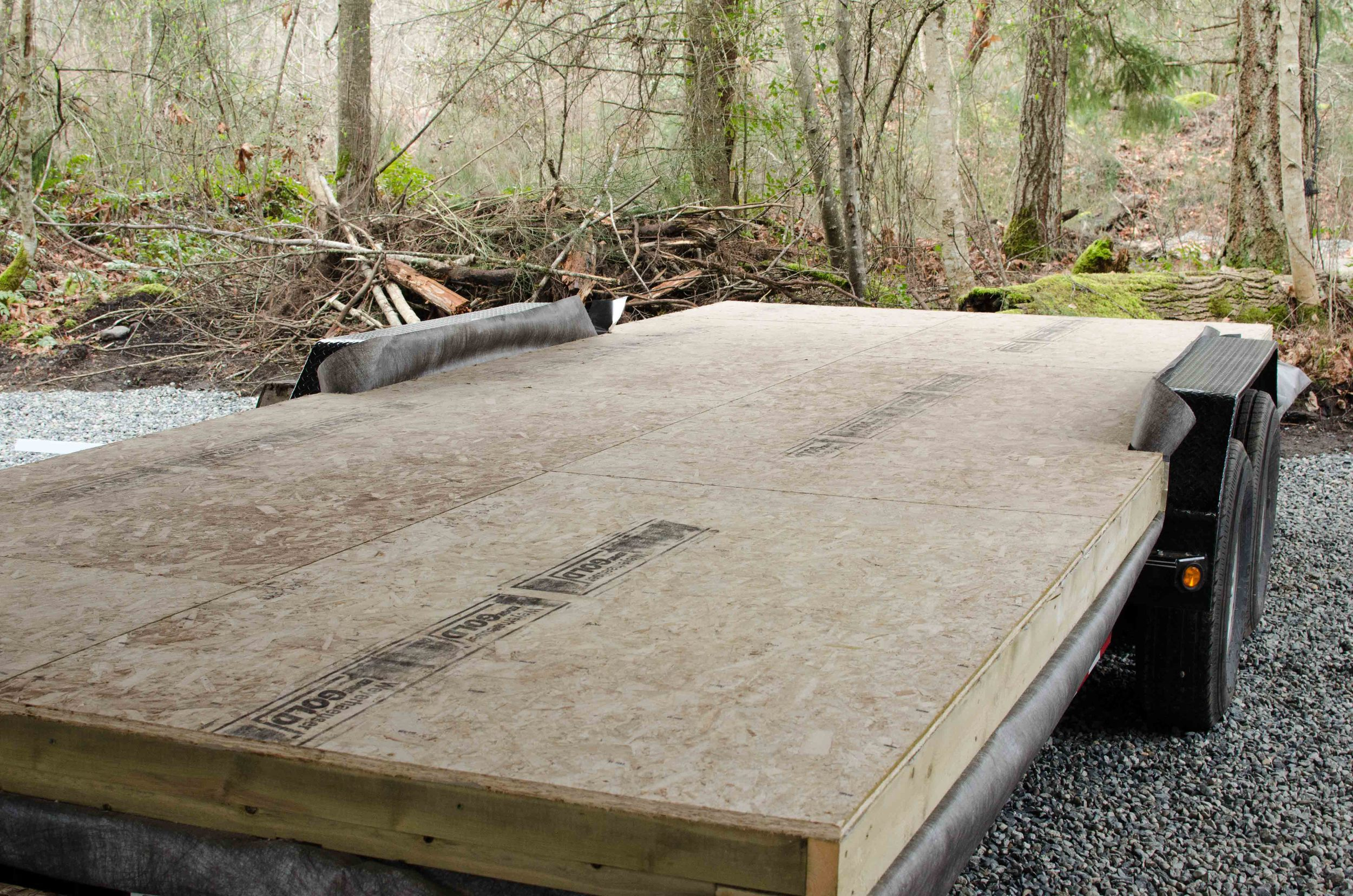 After we removed the decking, we put the floor package on, including weather proofing and pressure treated plywood for maximum water protection.