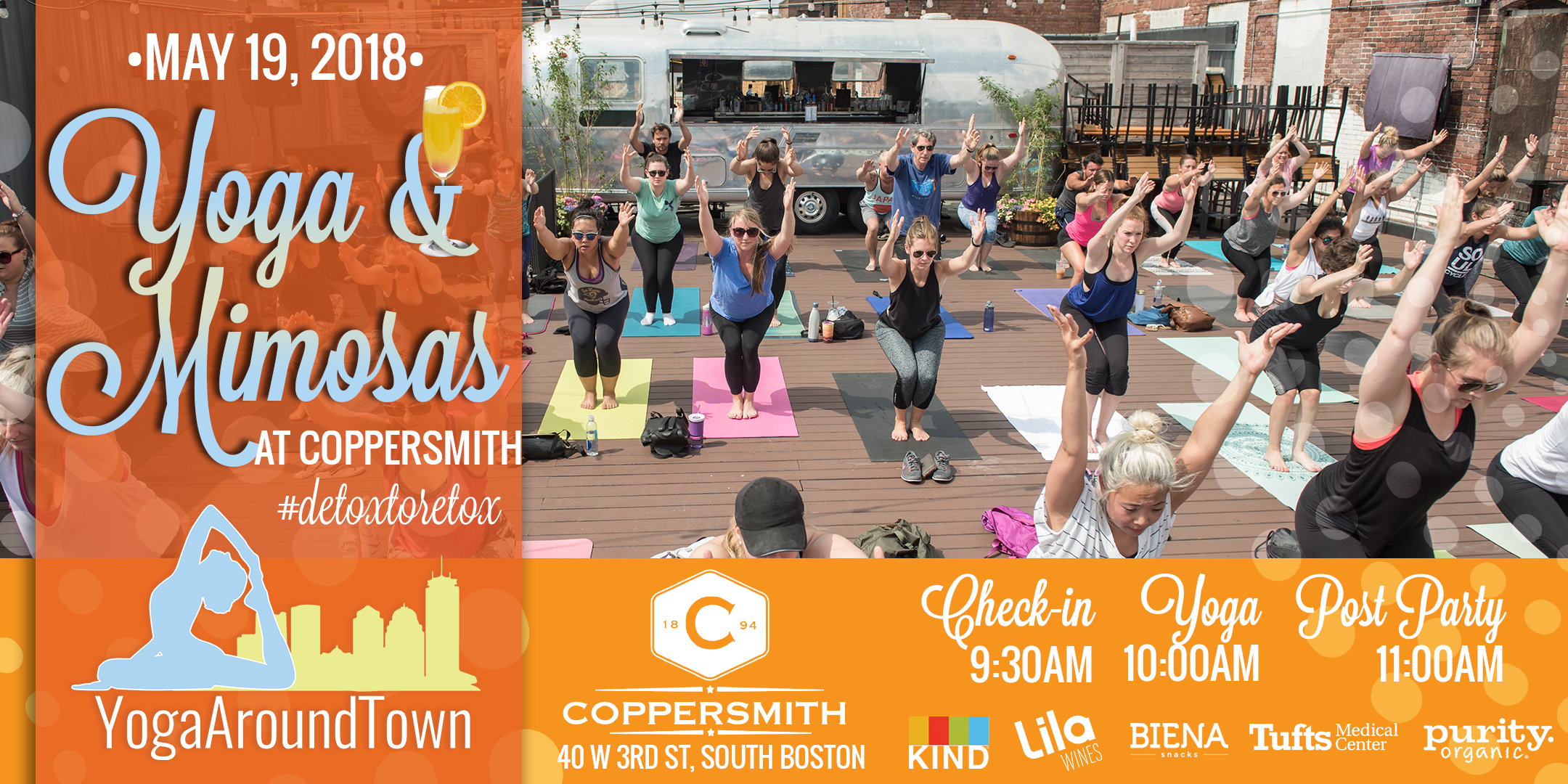 Start your Saturday with Yoga & Mimosas at Coppersmith in Southie! Leah Frasca will lead you through a fun all level flow that will have you moving, breathing and working up a sweat for 60-minutes before we #detoxtoretox with mimosas afterward!  All tickets include a Lila Wine Sparkling Mimosa and goodies from our sponsors!   Check out our full Yoga & Mimosas at Coppersmith series and be sure to register for the correct date!   Check-in: 9:30 -10:00 am    Class: 10-11:00am    Post-Party: Directly following class includes a Lila Wine & Purity Organic Mimosa