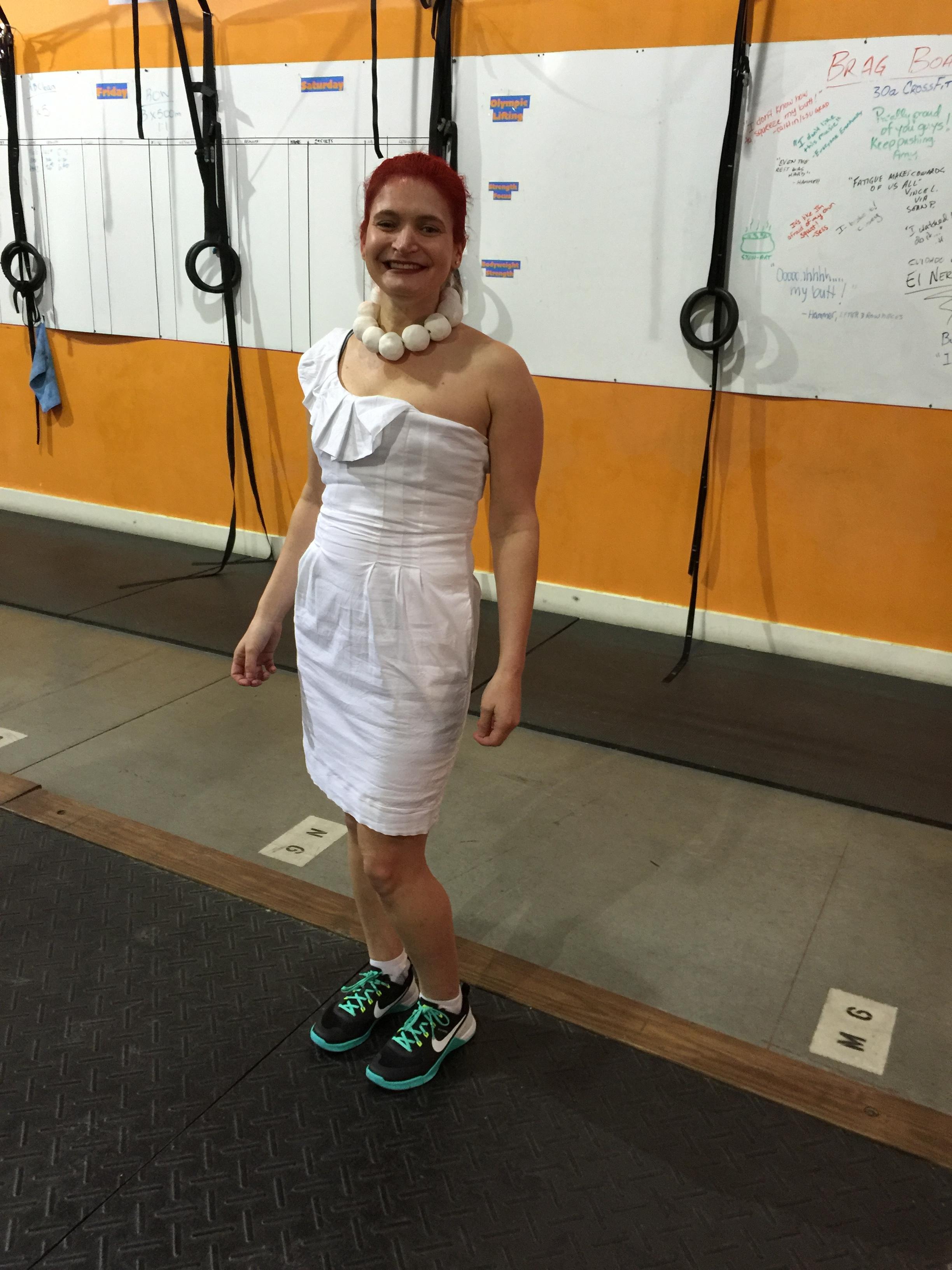 Jess as Wilma Flintstone for Halloween.