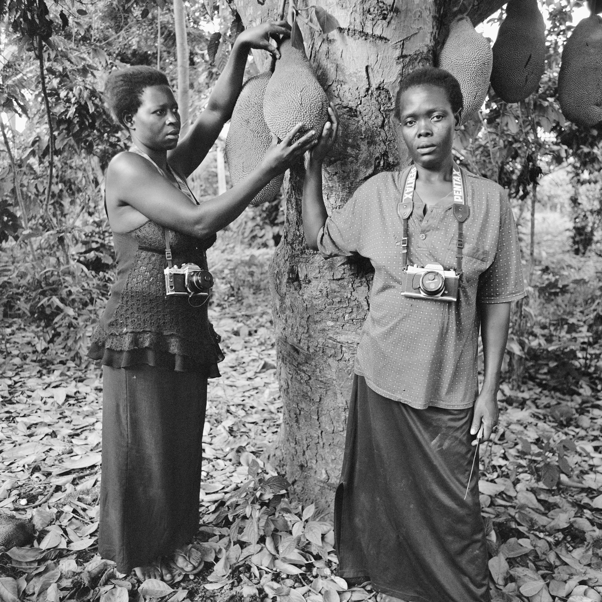 """Nalubowa Annet and Nassali Marriam along the back path leading to their gardens, posed under a """"fene"""" (jackfruit) tree.   These two women are close companions through life. They are next door neighbors, each with six children, and are raising their families as if related. Nassali Marriam is a major contributing member to a fair trade coffee cooperative, and Annet Nalubowa manages a small dairy business."""