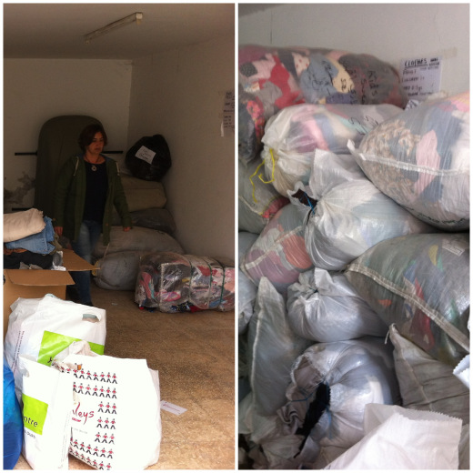 Before and after! Over $2,000 worth of used clothing and shoes and new underwear and socks!