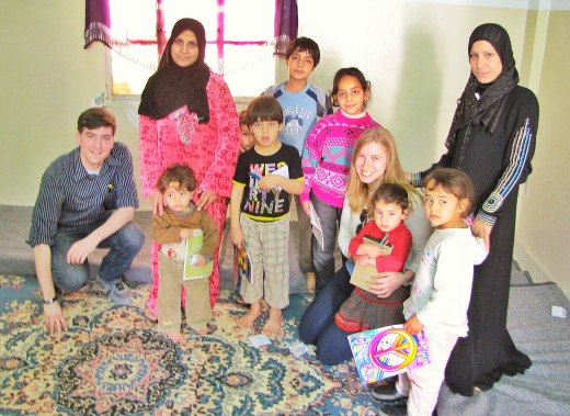 Two families lived in this apartment. We gave the kids coloring books and drawing utensils. They've been out of school for over a year.