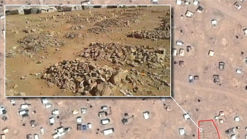 A make-shift graveyard on the Syria-Jordan border [source: Amnesty International]