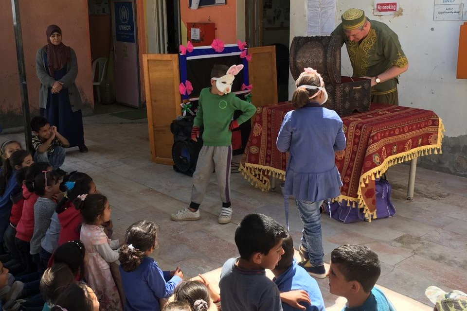 Magic in Azraq - The Azraq Center welcomed Magician Jamie Jibberish from Magic for Smiles who specializes in humanitarian magic for refugees in Lebanon, Jordan, and Turkey. Jamie dazzled students with his tricks while promoting self-confidence through performance.