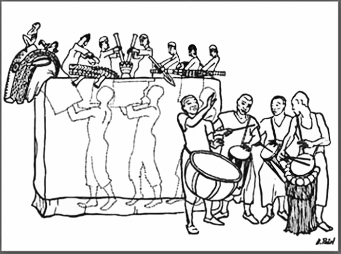 Diagram showing how the puppeteers work the puppets from inside the antelope. Drawing by Hetty Paerl