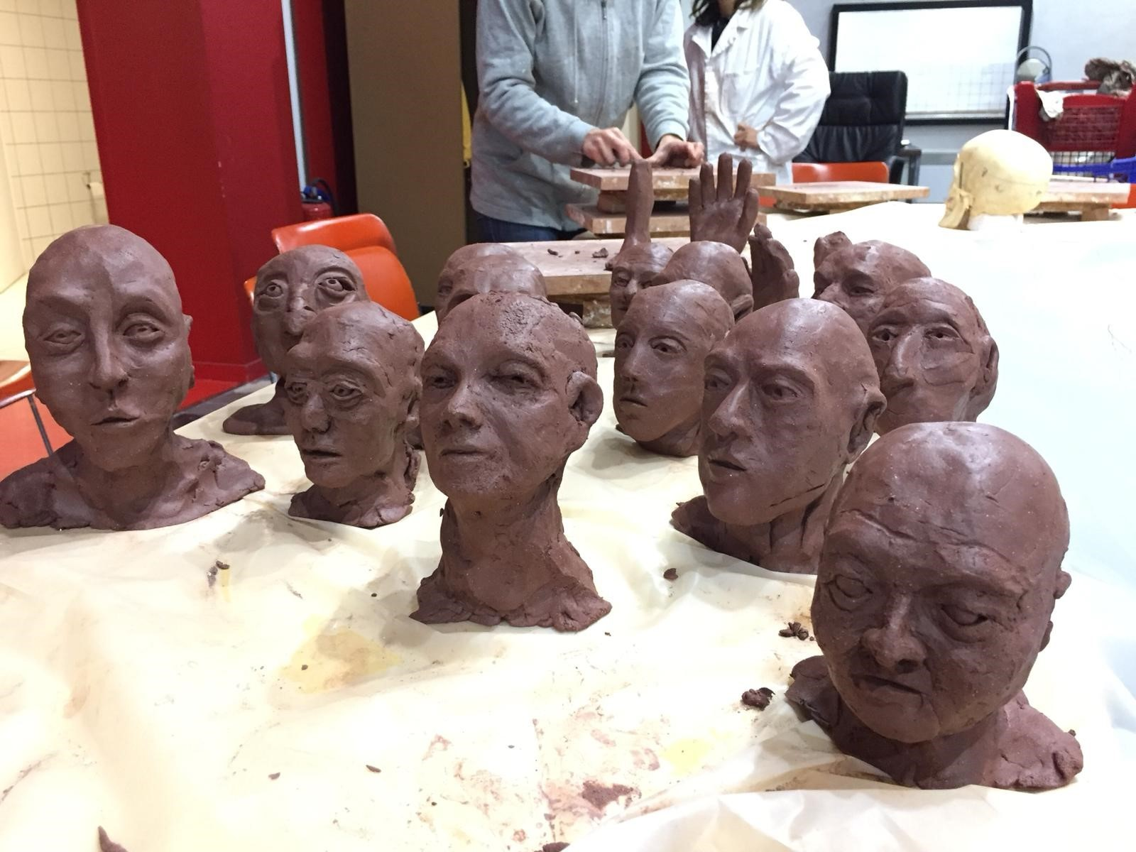 Clay heads in progress.