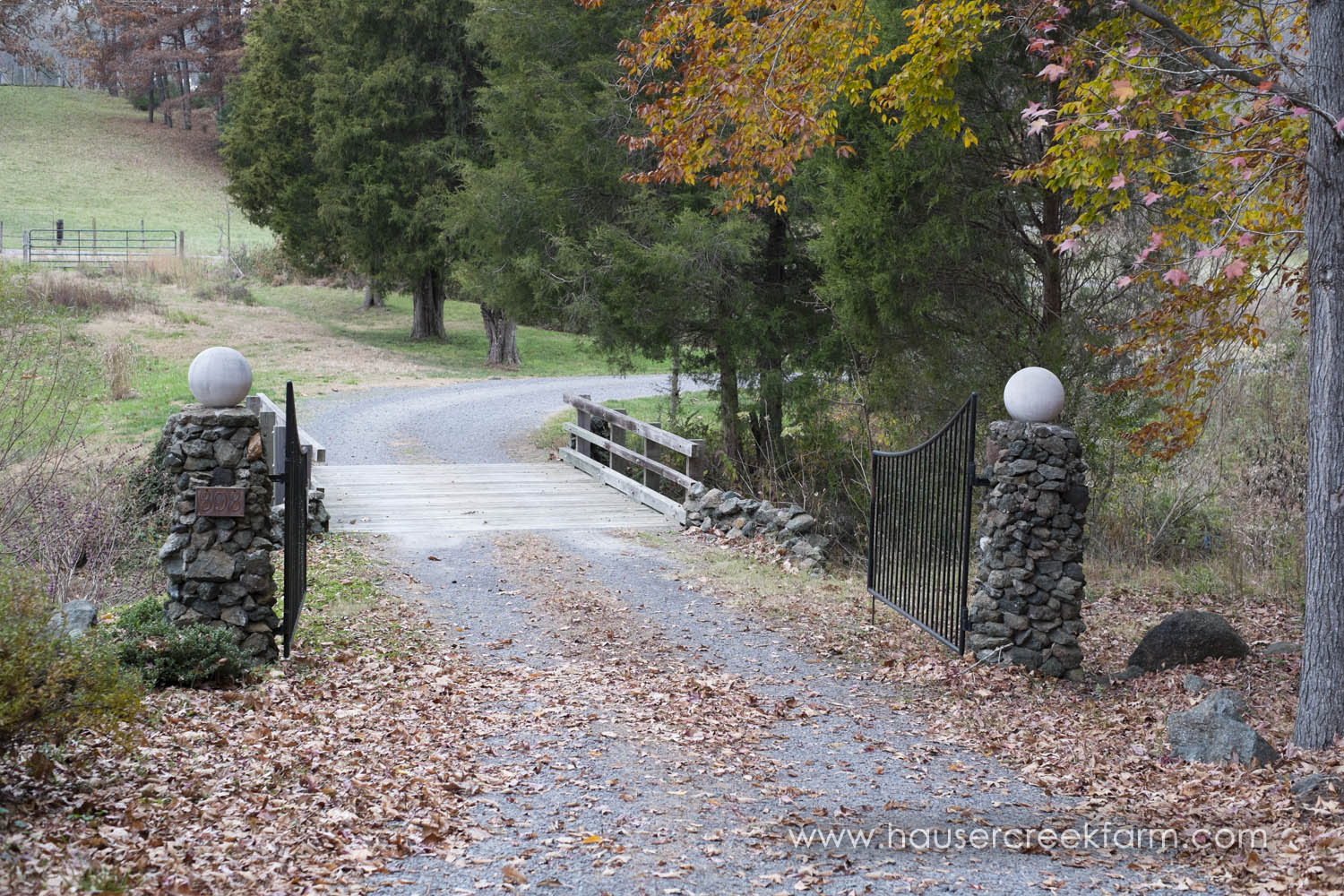 Open gate at entrance to the farm with fall leaves
