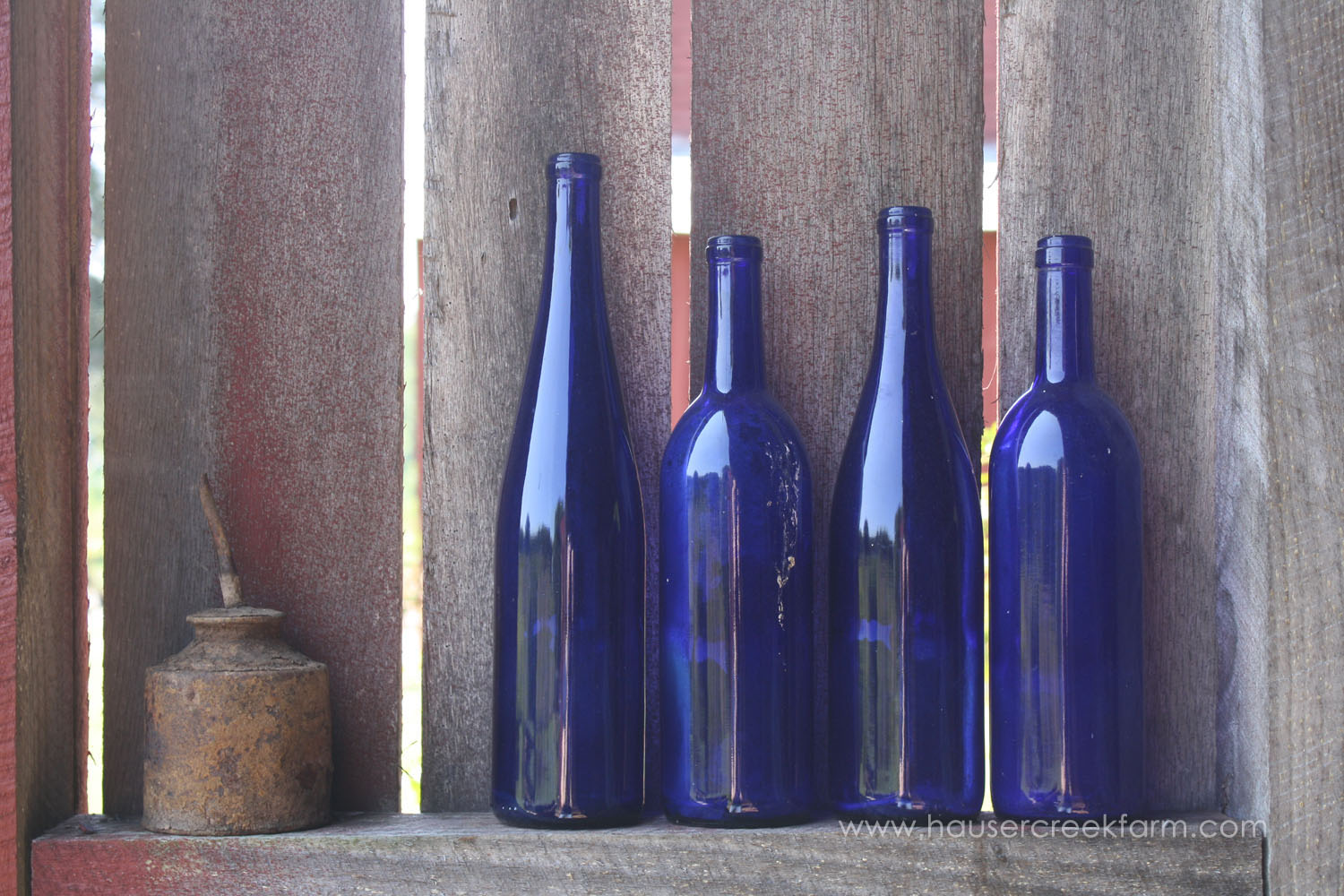 Four cobalt blue gss bottles by antique oil can on shelf in barnla