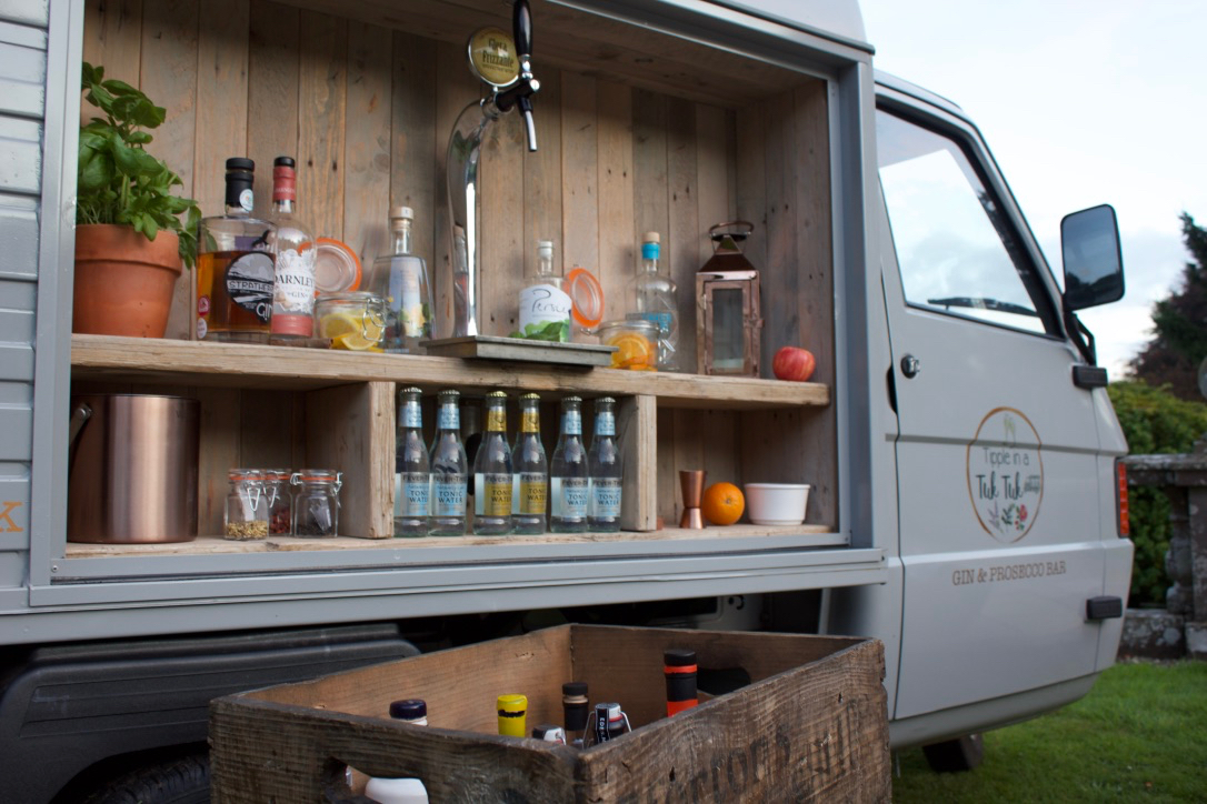 Our gin and Prosecco van setup at House of Turin, available for private gin tastings with gins from around Scotland