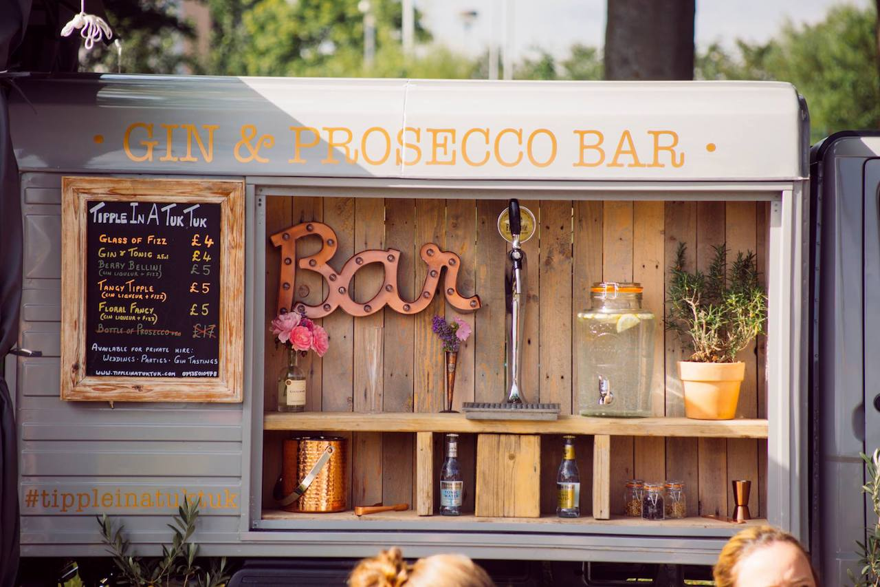 Our wedding Prosecco van setup at the Carnoostival in Carnoustie, Scotland