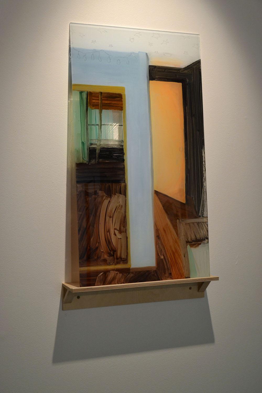"""Porta do Quarto (Retrato de Mamãe me Acordando)    2015  óleo sobre acrílico, prateleira de bétula  Pintura 82 x 46 x 0.64 cm., prateleira 10 x 51 x 9 cm.   ⬜     Bedroom Door (Portrait of Mother waking me)    oil on plexiglass, birch shelf, shadows  36 x 18"""" plexi  2015"""