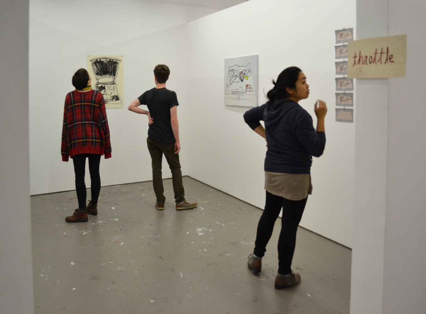 I distributed the exhibition invitations to Billy, Jacob, and Cara,who were also up late working in their studios that night.  I urged them to visit the show,which would be ready in just 10 minutes.