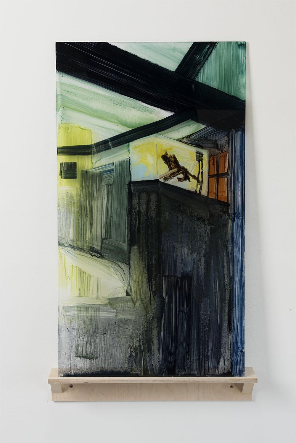 Entender um aquário    2015  óleo sobre acrílico, prateleira de bétula  Pintura 82 x 46 x 0.64 cm., prateleira 10 x 51 x 9 cm.   ⬜     To know an aquarium    2015  Oil paint on plexiglass, artist-made birch shelf  32'' x 18'' x 0.25'' plexi, 4'' x 20'' x 3.5'' shelf
