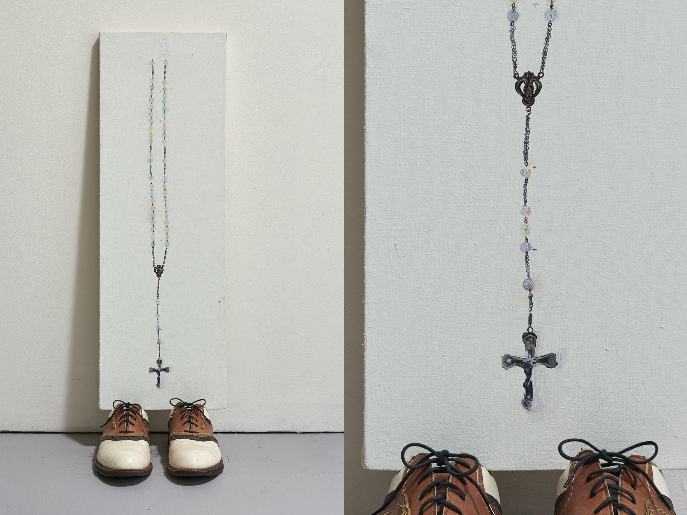 "Painting of the Rosary her Maternal Brazilian Grandfather made for her when she was born, resting on her American Father's golf shoes    house paint and oil on canvas, Dad's golf shoes   33.5"" x 10"" x 13""   2017 – 19"