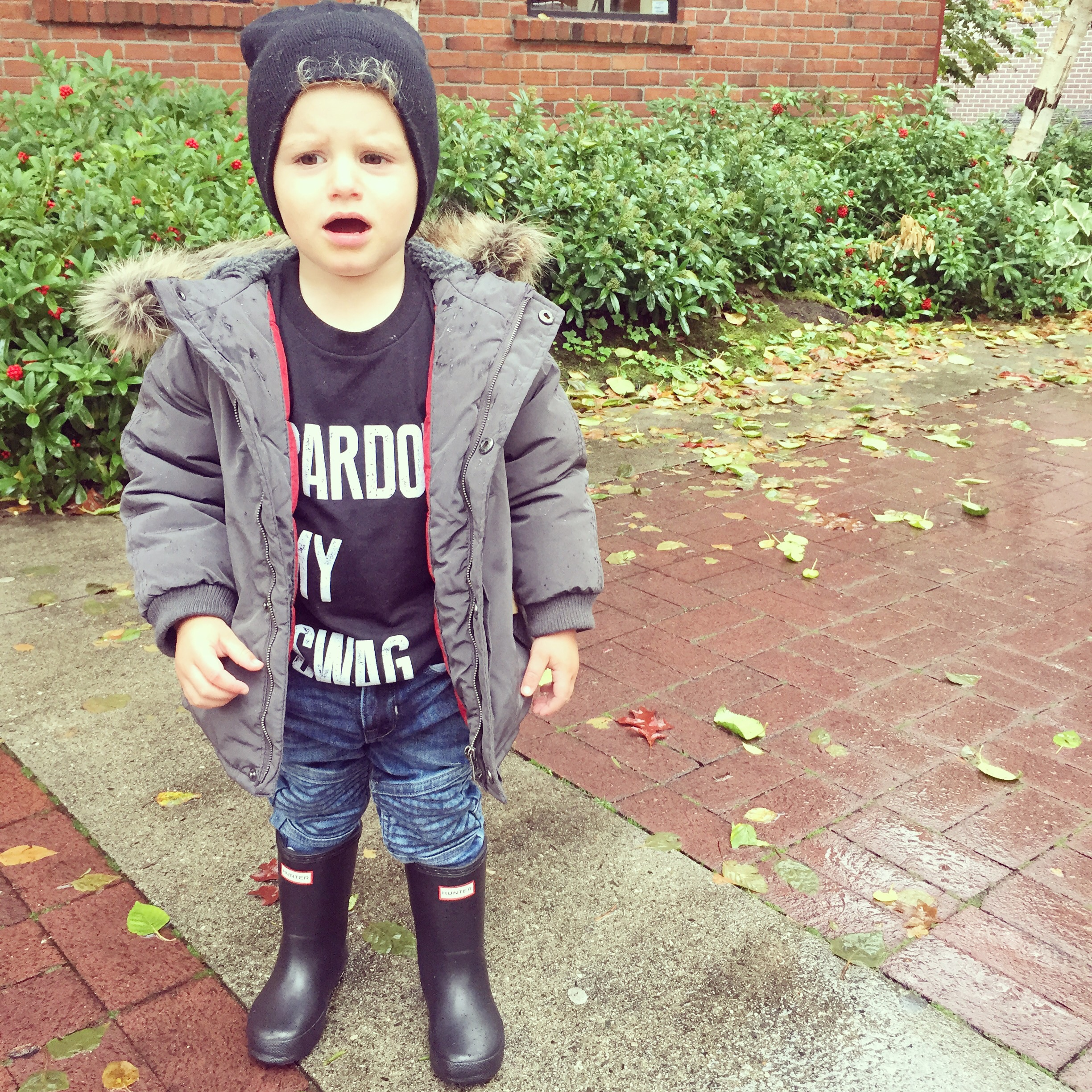 This  King and Sage  PARDON MY SWAG tee will never get old. This  Zara Kids  hooded parka and these Hunter  boots won't either.