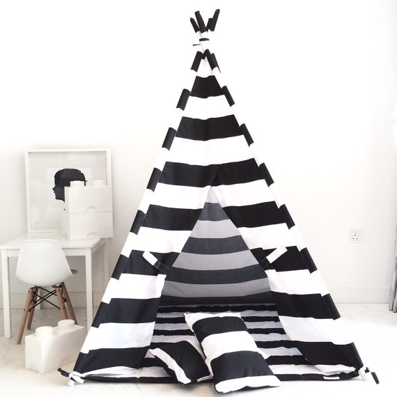 Domestic Objects Kids Teepee Play Tent in Black and White