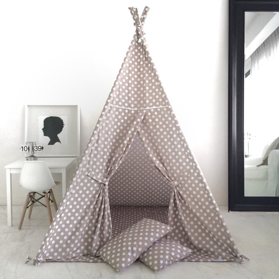 Domestic Objects Kids Teepee Play Tent in Taupe