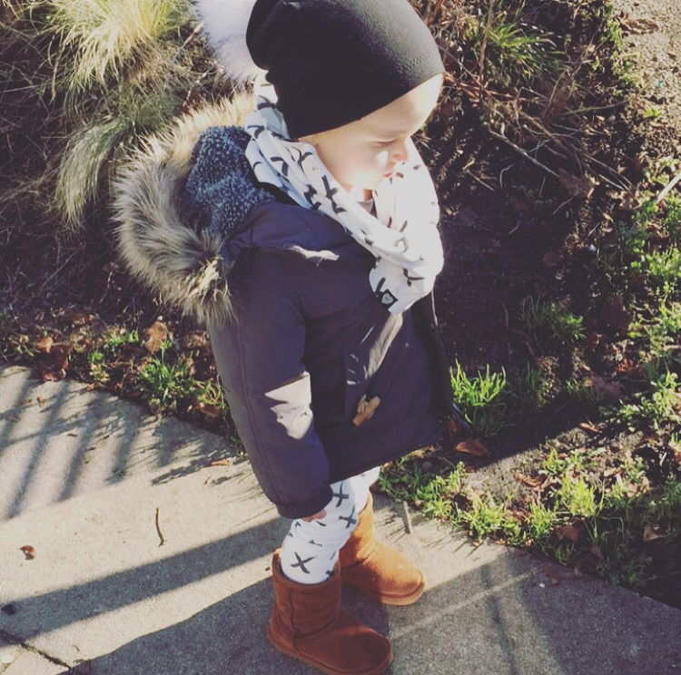 Parka from  Zara , X leggings and infinity scarf from  Tiny Button Apparel , pom beanie from  My Mila
