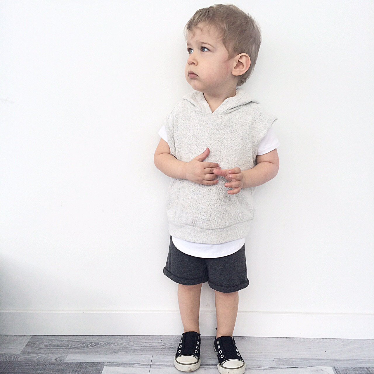 Grey Sleeveless Hoodie, Elongated Tee, 'Roo' Shorts