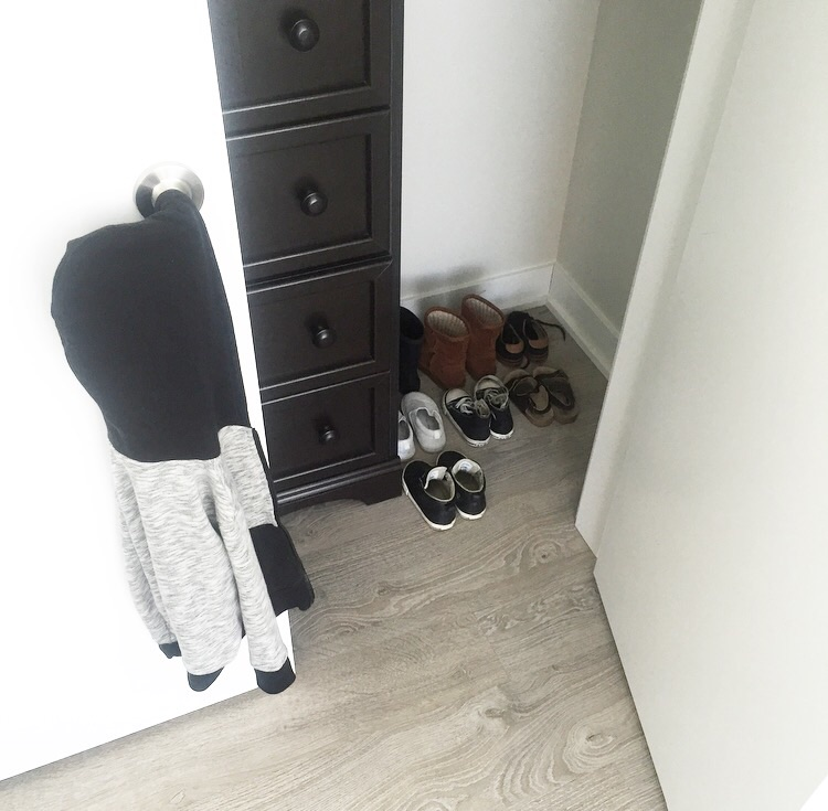 Thank goodness Hudson's dresser fit in the closet, as it didn't match the monochrome theme I had in mind.