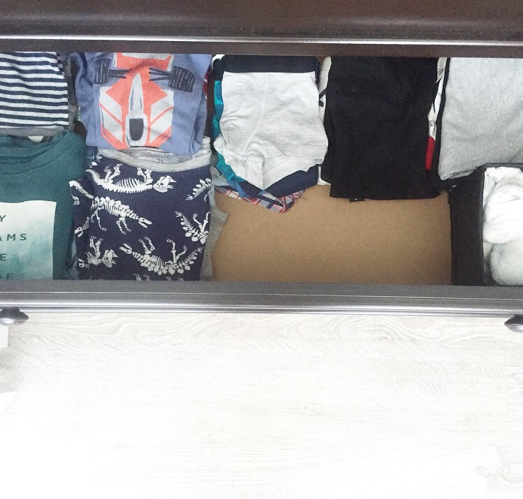 PJs, underwear, socks, scarves, and beanies in the bottom drawer.
