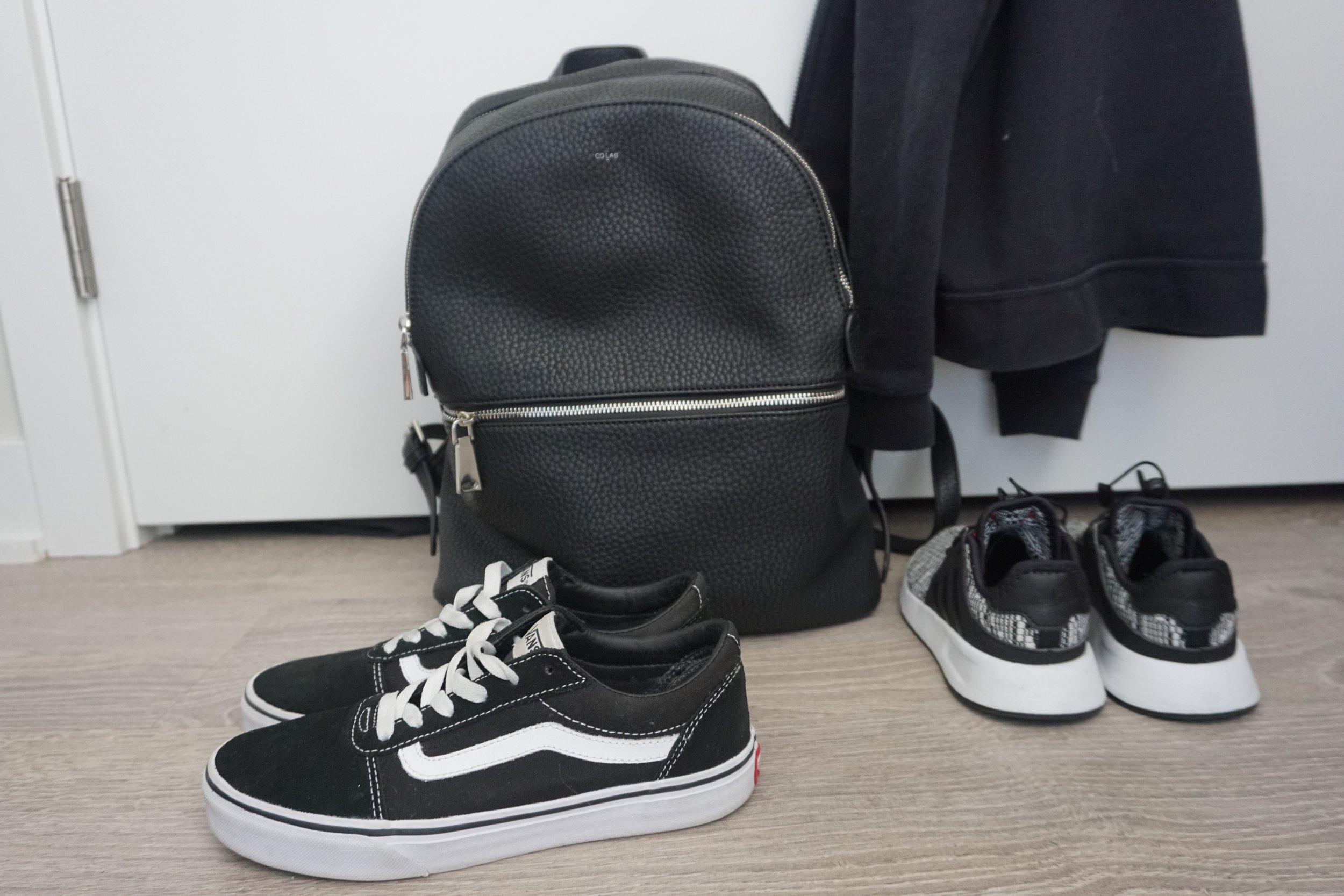 Vegan leather backpack is from  Colab .
